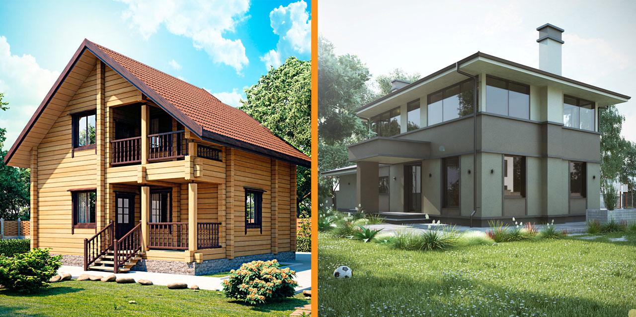 деревянный или кирпичный дом